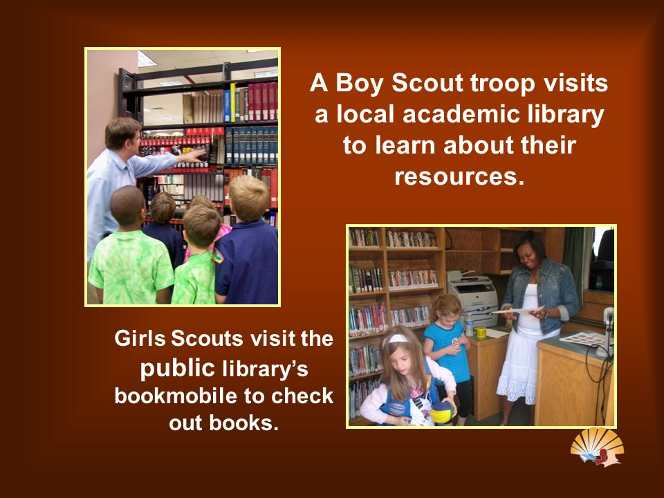 A Boy Scout troop visits a local academic library to learn about their resources.