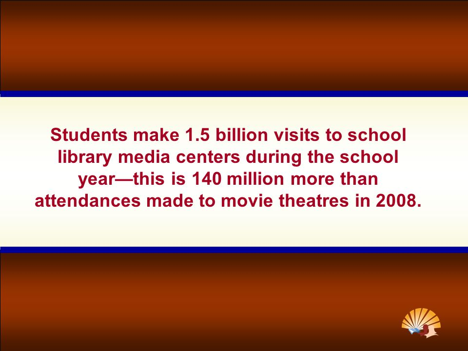 Students make 1.5 billion visits to school library media centers during the school year—this is 140 million more than attendances made to movie theatres in 2008.