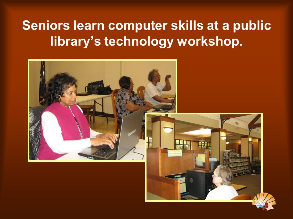 Seniors learn computer skills at a public library's technology workshop.