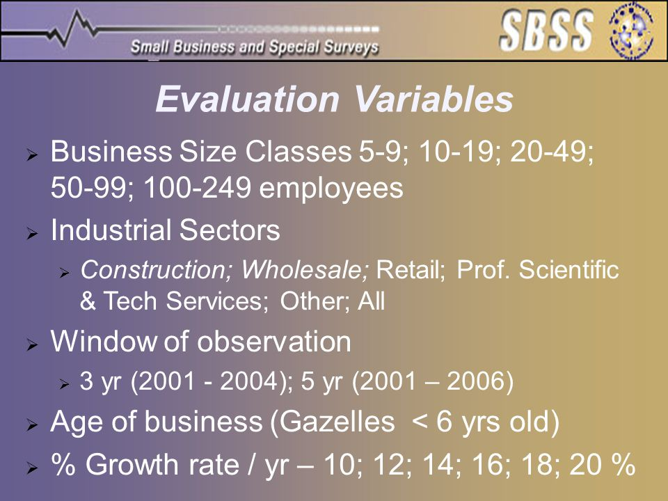 Evaluation Variables  Business Size Classes 5-9; 10-19; 20-49; 50-99; 100-249 employees  Industrial Sectors  Construction; Wholesale; Retail; Prof.