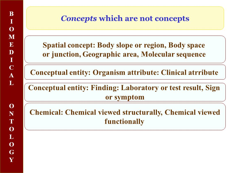 BIOMEDICALONTOLOGYBIOMEDICALONTOLOGY Spatial concept: Body slope or region, Body space or junction, Geographic area, Molecular sequence Conceptual entity: Organism attribute: Clinical atrribute Chemical: Chemical viewed structurally, Chemical viewed functionally Concepts which are not concepts Conceptual entity: Finding: Laboratory or test result, Sign or symptom