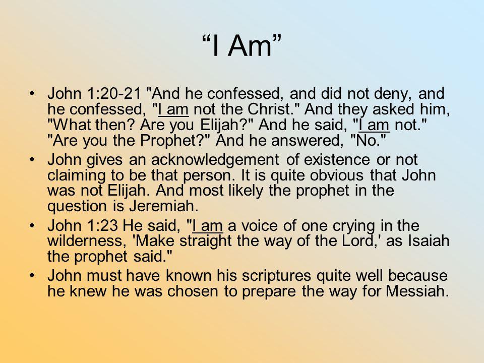 """""""I Am"""" John 1:20-21"""