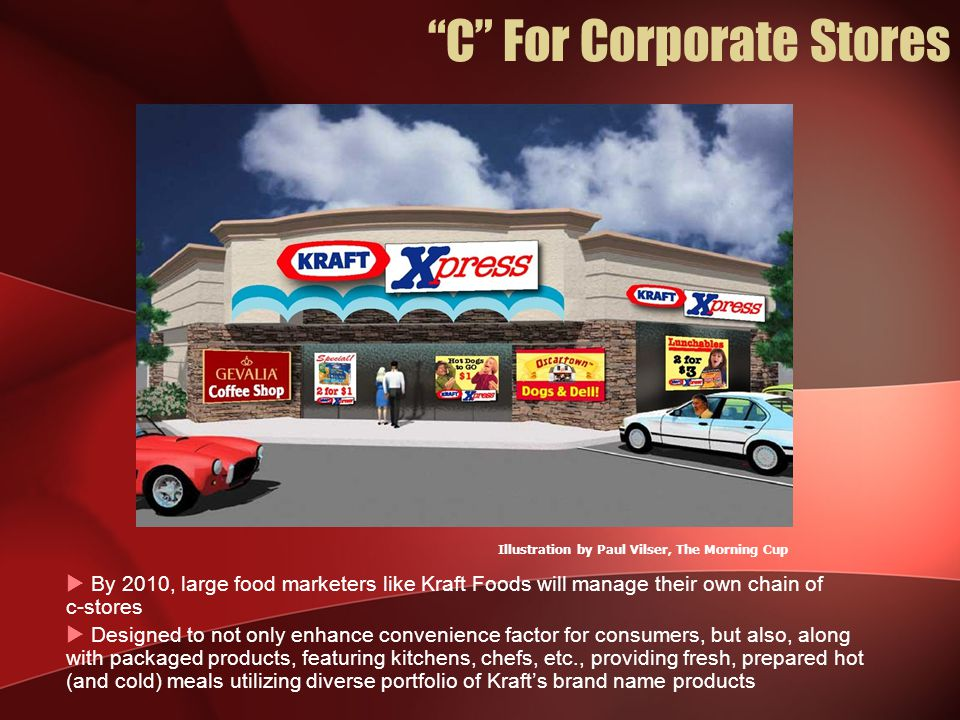  By 2010, large food marketers like Kraft Foods will manage their own chain of c-stores  Designed to not only enhance convenience factor for consumers, but also, along with packaged products, featuring kitchens, chefs, etc., providing fresh, prepared hot (and cold) meals utilizing diverse portfolio of Kraft's brand name products Illustration by Paul Vilser, The Morning Cup C For Corporate Stores