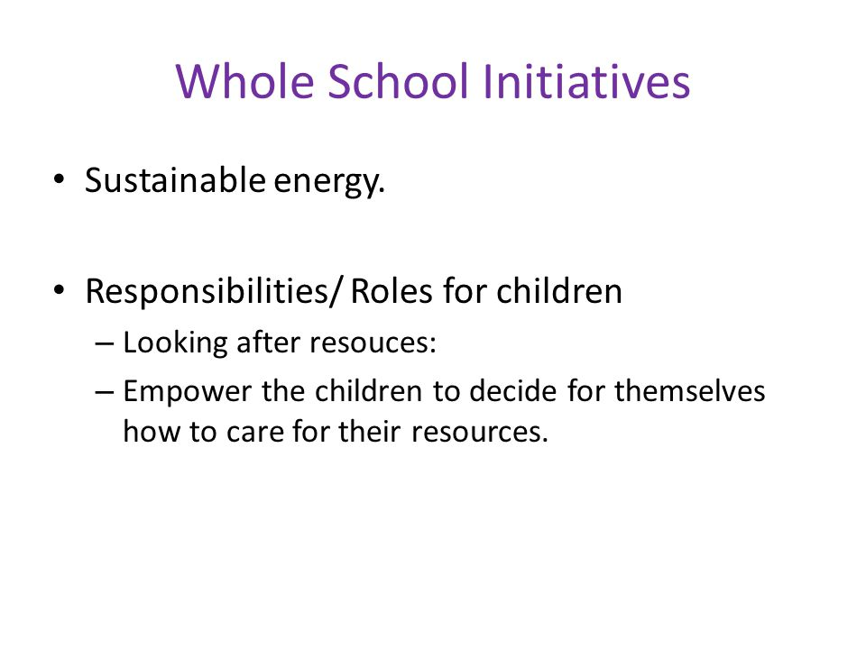 Whole School Initiatives Sustainable energy.