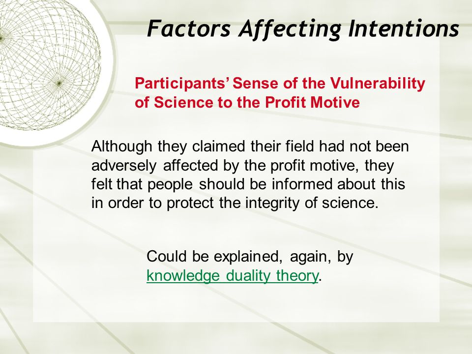 Factors Affecting Intentions Participants' Sense of the Vulnerability of Science to the Profit Motive Although they claimed their field had not been a