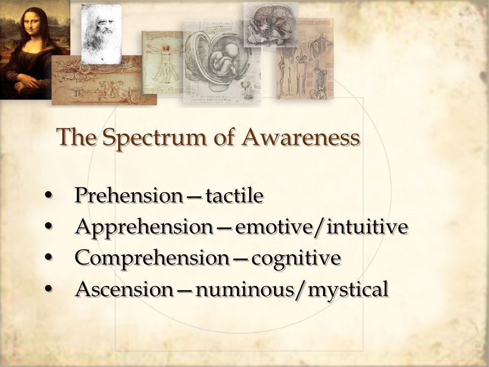 The Spectrum of Awareness Prehension—tactile Apprehension—emotive/intuitive Comprehension—cognitive Ascension—numinous/mystical Prehension—tactile App