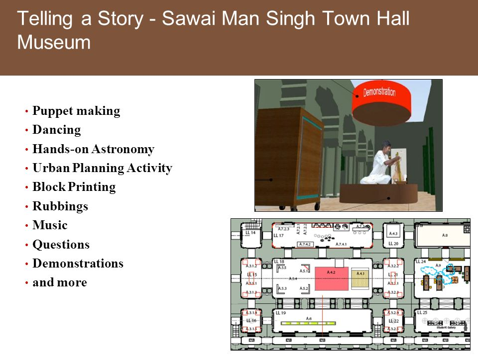 Telling a Story - Sawai Man Singh Town Hall Museum Puppet making Dancing Hands-on Astronomy Urban Planning Activity Block Printing Rubbings Music Questions Demonstrations and more