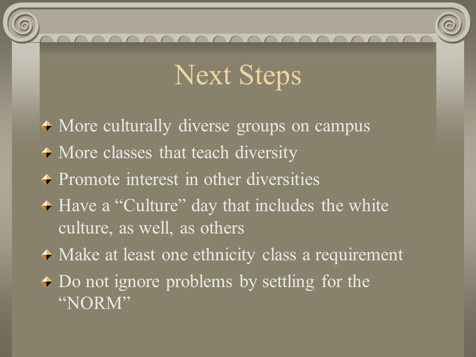 Next Steps More culturally diverse groups on campus More classes that teach diversity Promote interest in other diversities Have a Culture day that includes the white culture, as well, as others Make at least one ethnicity class a requirement Do not ignore problems by settling for the NORM