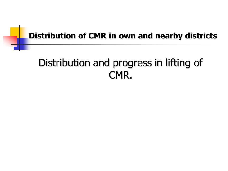 Distribution of CMR in own and nearby districts Distribution and progress in lifting of CMR.