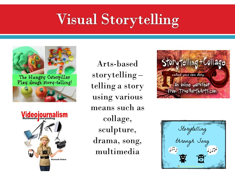 Arts-based storytelling – telling a story using various means such as collage, sculpture, drama, song, multimedia