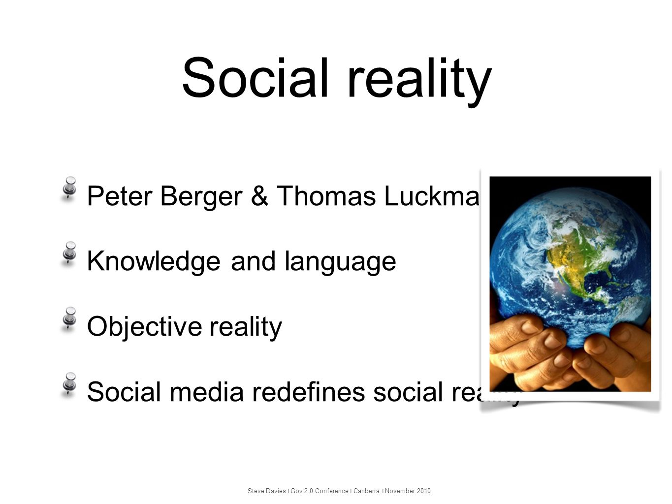 Social reality Peter Berger & Thomas Luckmann Knowledge and language Objective reality Social media redefines social reality Steve Davies ❘ Gov 2.0 Co