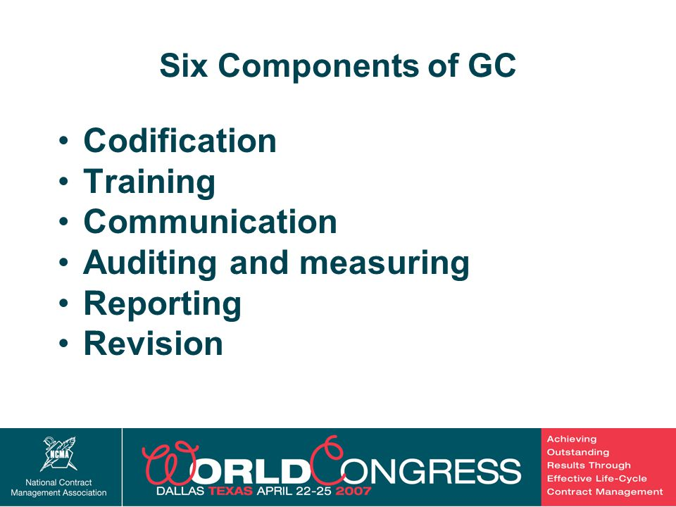 10 Six Components of GC Codification Training Communication Auditing and measuring Reporting Revision