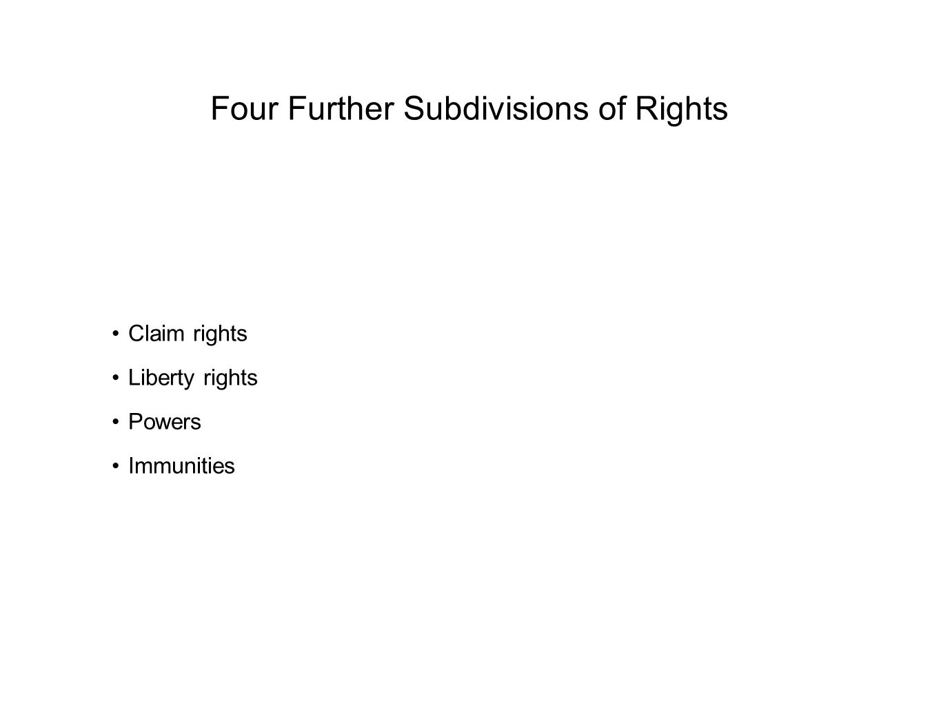 Four Further Subdivisions of Rights Claim rights Liberty rights Powers Immunities