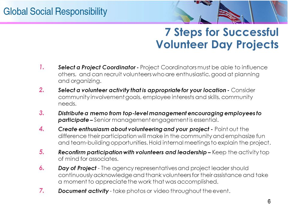 6 7 Steps for Successful Volunteer Day Projects 1. Select a Project Coordinator - Project Coordinators must be able to influence others, and can recru