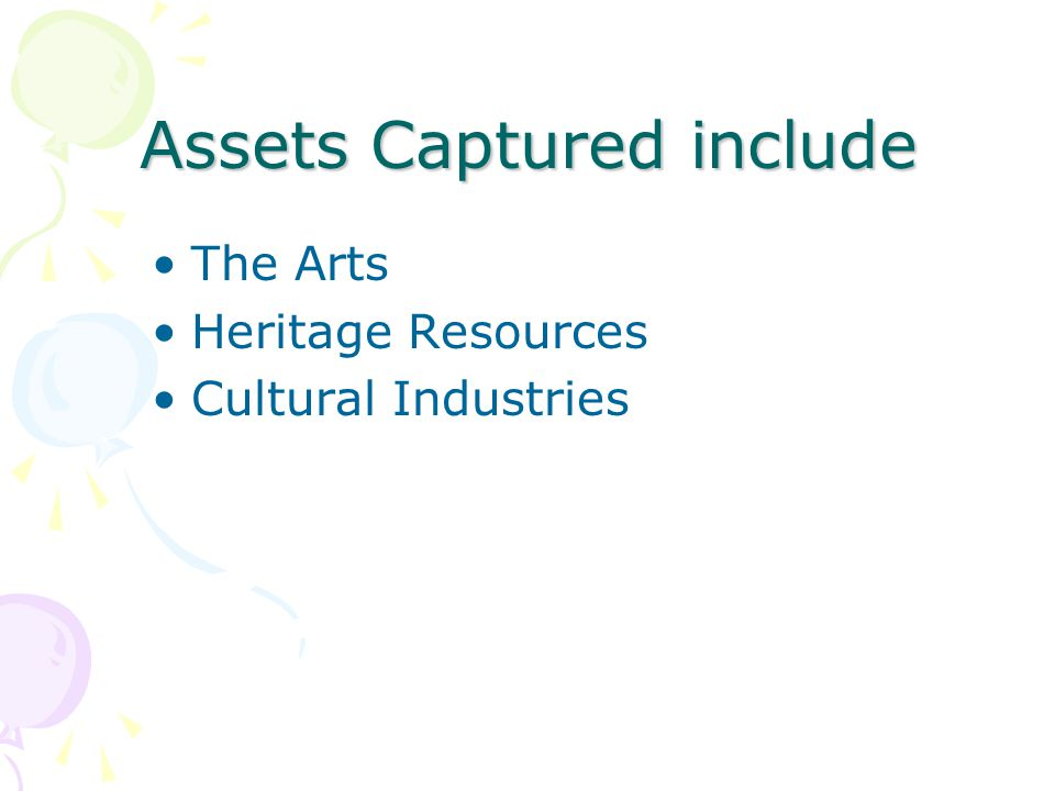 Assets Captured include The Arts Heritage Resources Cultural Industries
