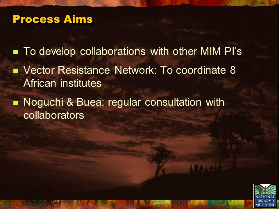 Process Aims To develop collaborations with other MIM PI's Vector Resistance Network: To coordinate 8 African institutes Noguchi & Buea: regular consu