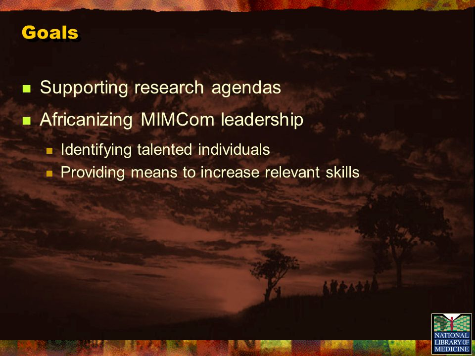 Goals Supporting research agendas Africanizing MIMCom leadership Identifying talented individuals Providing means to increase relevant skills