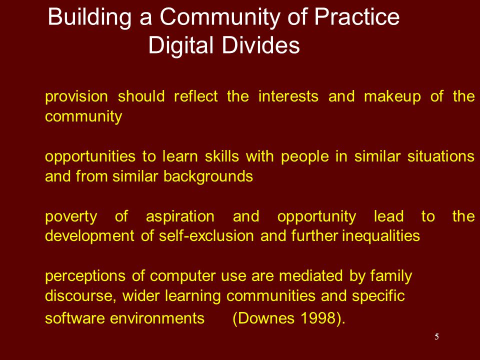 5 Building a Community of Practice Digital Divides provision should reflect the interests and makeup of the community opportunities to learn skills wi