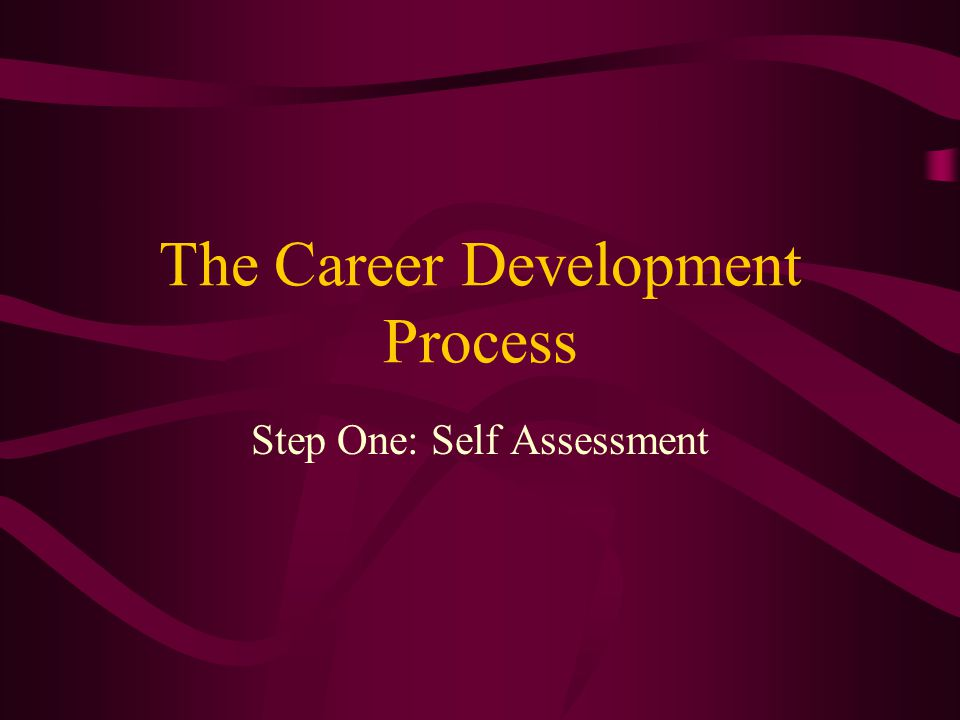 The Career Development Process Step One: Self Assessment