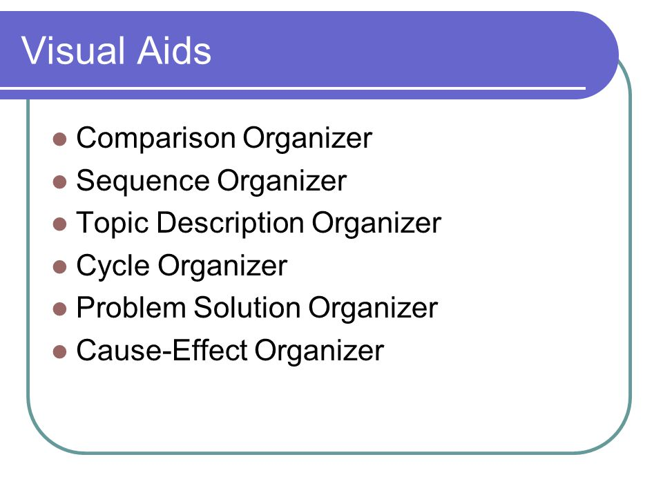 Visual Aids Comparison Organizer Sequence Organizer Topic Description Organizer Cycle Organizer Problem Solution Organizer Cause-Effect Organizer