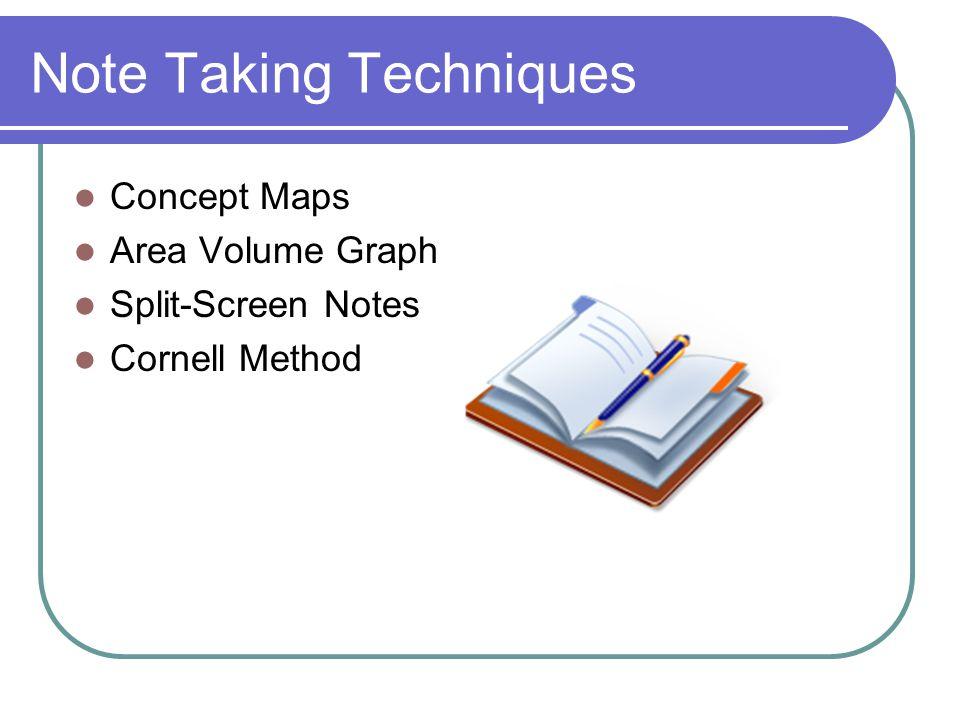 Note Taking Techniques Concept Maps Area Volume Graph Split-Screen Notes Cornell Method