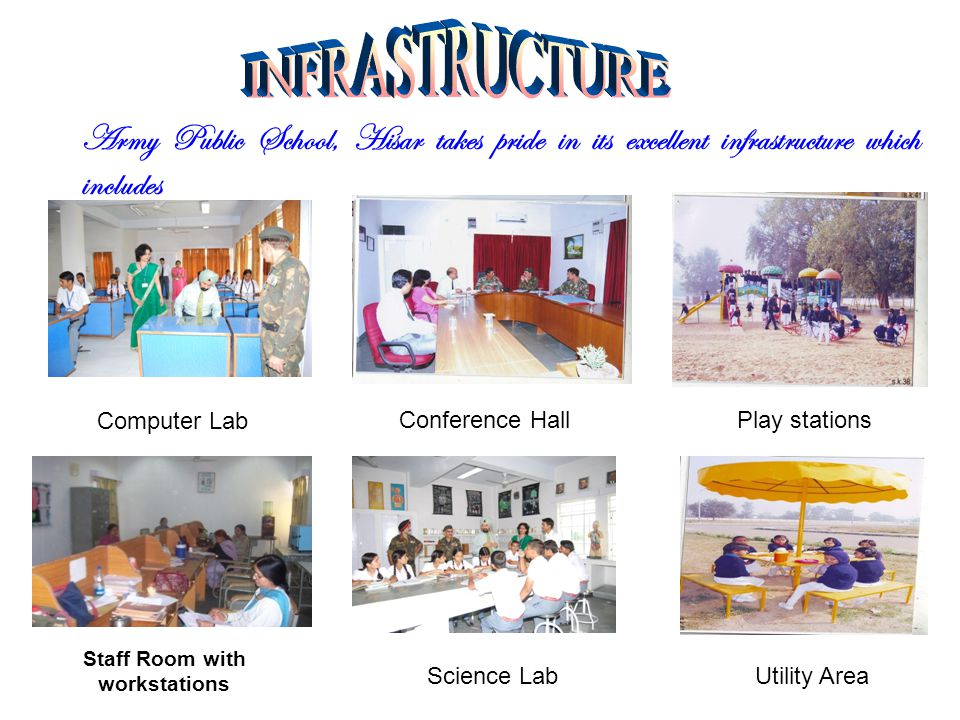 Army Public School, Hisar takes pride in its excellent infrastructure which includes Staff Room with workstations Computer Lab Conference Hall Science