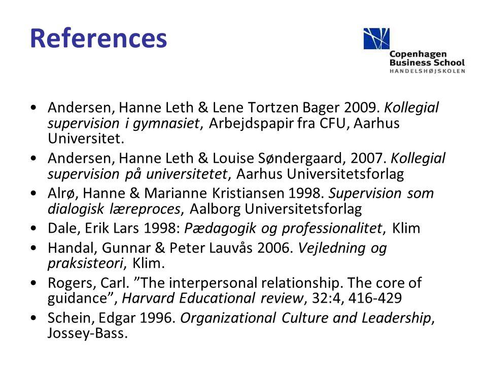 References Andersen, Hanne Leth & Lene Tortzen Bager 2009.