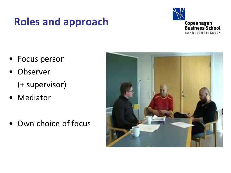 Roles and approach Focus person Observer (+ supervisor) Mediator Own choice of focus