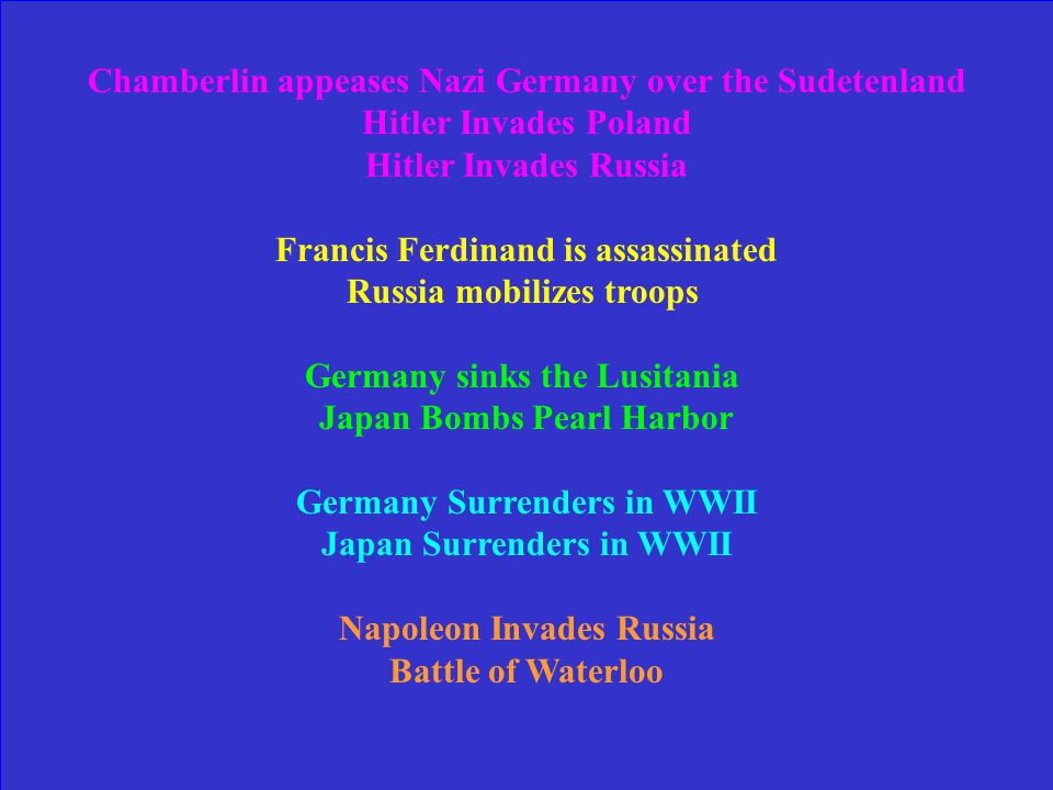 Put the events in order: Chamberlin appeases Nazi Germany over the Sudetenland Hitler Invades Poland Hitler Invades Russia Russia mobilizes troops Francis Ferdinand is assassinated Germany sinks the Lusitania Japan Bombs Pearl Harbor Germany Surrenders in WWII Japan Surrenders in WWII Napoleon Invades Russia Battle of Waterloo