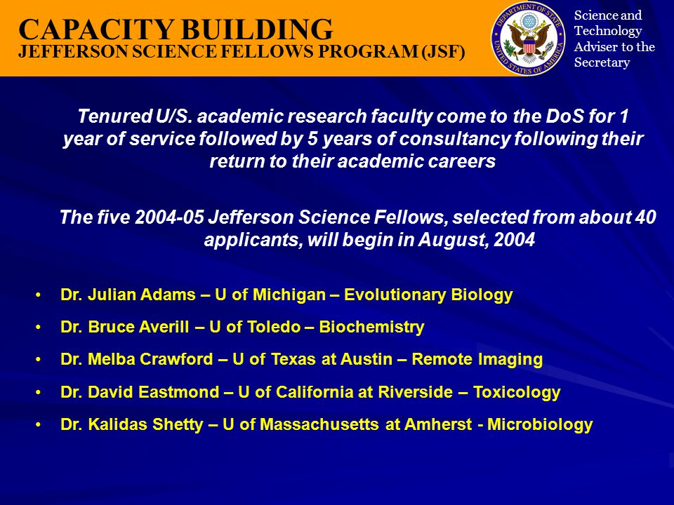 CAPACITY BUILDING JEFFERSON SCIENCE FELLOWS PROGRAM (JSF) Science and Technology Adviser to the Secretary Tenured U/S.