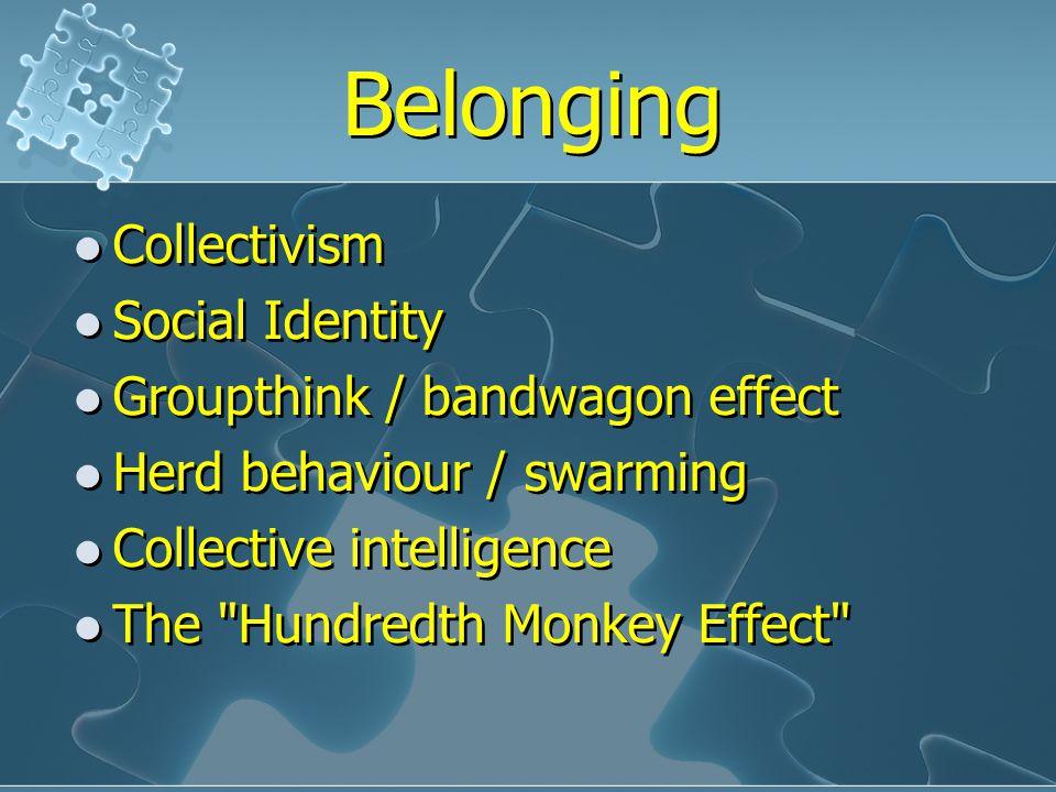 Belonging Collectivism Social Identity Groupthink / bandwagon effect Herd behaviour / swarming Collective intelligence The Hundredth Monkey Effect Collectivism Social Identity Groupthink / bandwagon effect Herd behaviour / swarming Collective intelligence The Hundredth Monkey Effect