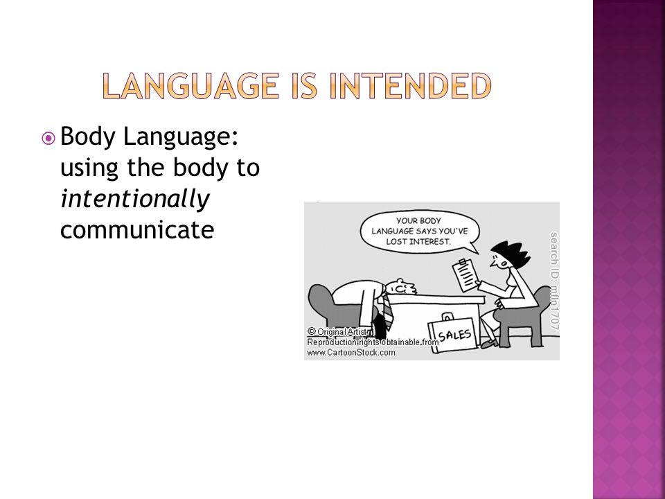  Body Language: using the body to intentionally communicate