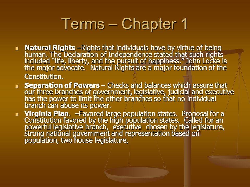 Terms – Chapter 1 The New Jersey Plan.– Favored smaller population states.
