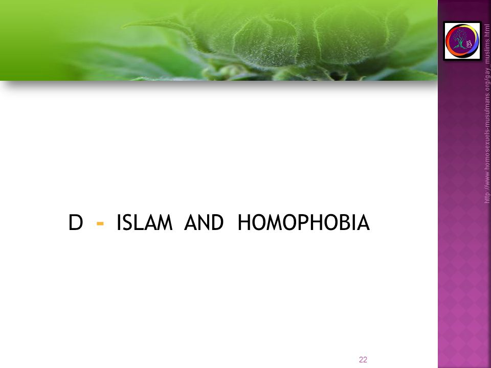 22 http://www.homosexuels-musulmans.org/gay_muslims.html D - ISLAM AND HOMOPHOBIA