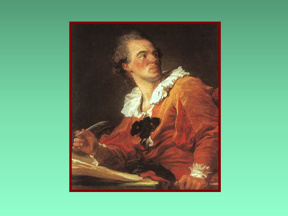 """The Inspiration"" Fragonard, 1769 - France b Shift in French art from serious and grandiose to fun and superficial b More light hearted"