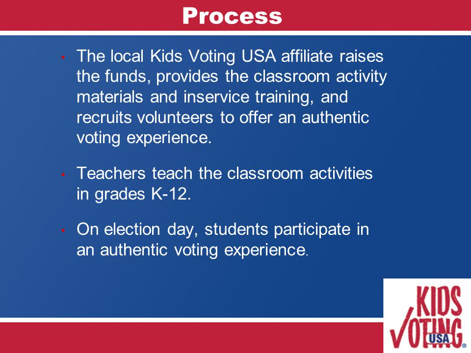 Process The local Kids Voting USA affiliate raises the funds, provides the classroom activity materials and inservice training, and recruits volunteers to offer an authentic voting experience.