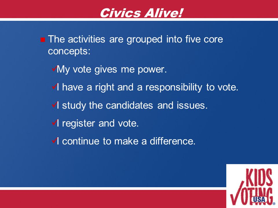Civics Alive. The activities are grouped into five core concepts: My vote gives me power.