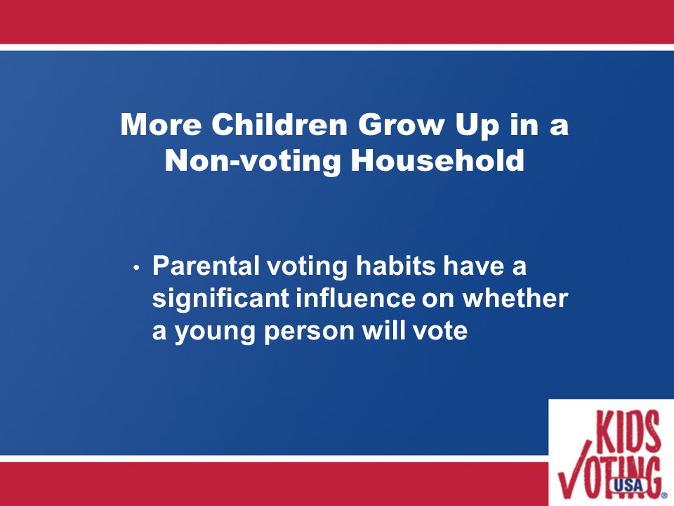 More Children Grow Up in a Non-voting Household Parental voting habits have a significant influence on whether a young person will vote