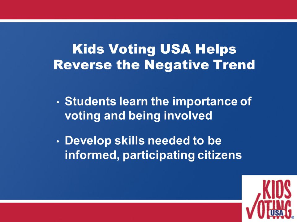 Kids Voting USA Helps Reverse the Negative Trend Students learn the importance of voting and being involved Develop skills needed to be informed, participating citizens