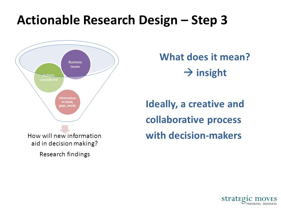 Actionable Research Design – Step 3 What does it mean?  insight Ideally, a creative and collaborative process with decision-makers How will new infor