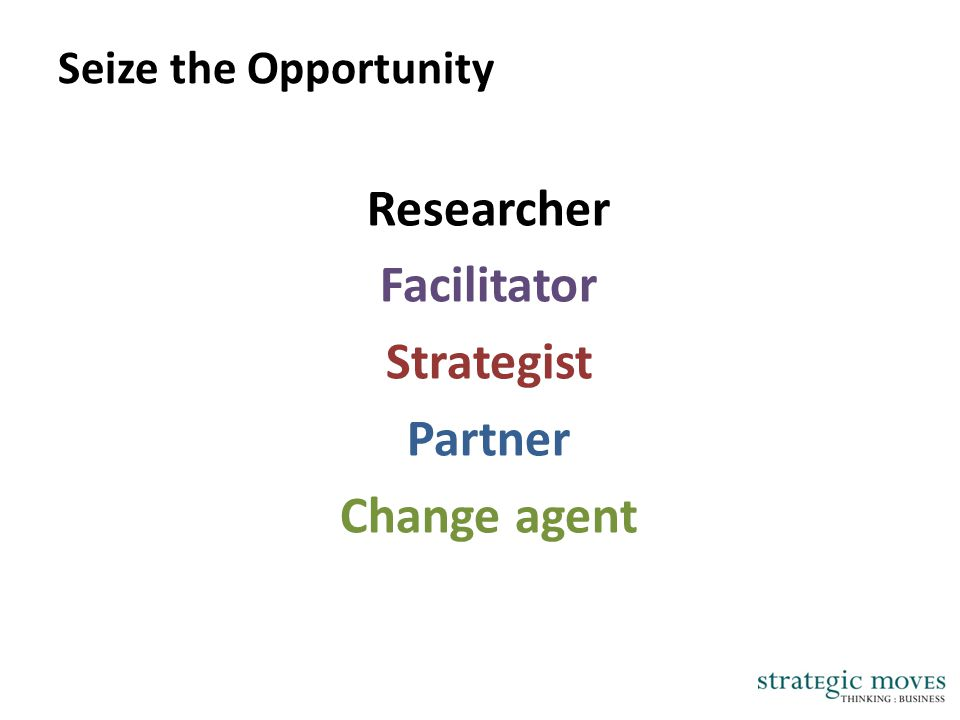 Seize the Opportunity Researcher Facilitator Strategist Partner Change agent