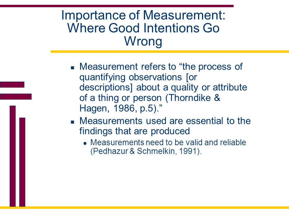 "Importance of Measurement: Where Good Intentions Go Wrong Measurement refers to ""the process of quantifying observations [or descriptions] about a qua"