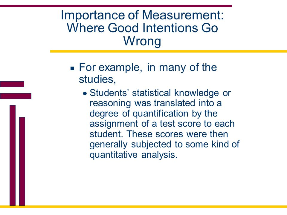 Importance of Measurement: Where Good Intentions Go Wrong For example, in many of the studies, Students' statistical knowledge or reasoning was transl