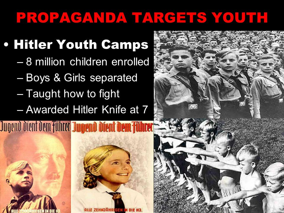 PROPAGANDA TARGETS YOUTH Hitler Youth Camps –8 million children enrolled –Boys & Girls separated –Taught how to fight –Awarded Hitler Knife at 7
