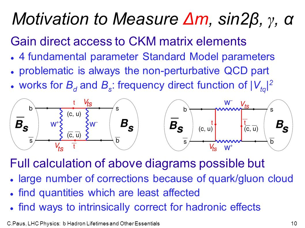 C.Paus, LHC Physics: b Hadron Lifetimes and Other Essentials10 Motivation to Measure Δm, sin2β, γ, α Gain direct access to CKM matrix elements ● 4 fundamental parameter Standard Model parameters ● problematic is always the non-perturbative QCD part ● works for B d and B s : frequency direct function of |V tq | 2 Full calculation of above diagrams possible but ● large number of corrections because of quark/gluon cloud ● find quantities which are least affected ● find ways to intrinsically correct for hadronic effects