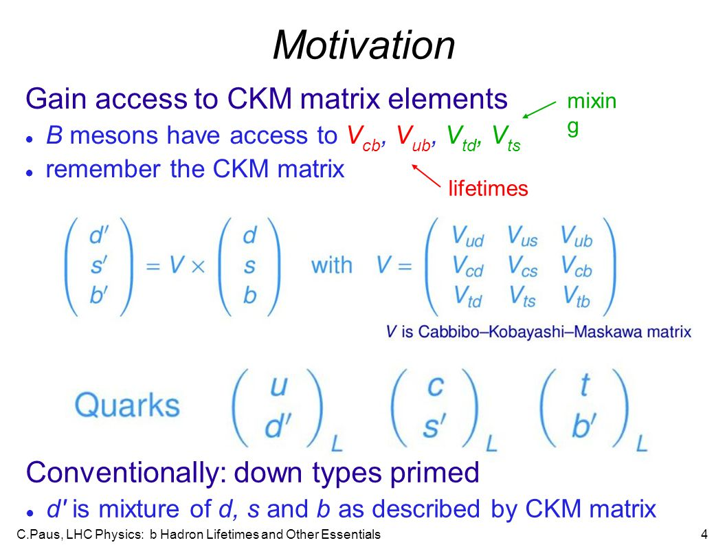 C.Paus, LHC Physics: b Hadron Lifetimes and Other Essentials4 Motivation Gain access to CKM matrix elements ● B mesons have access to V cb, V ub, V td