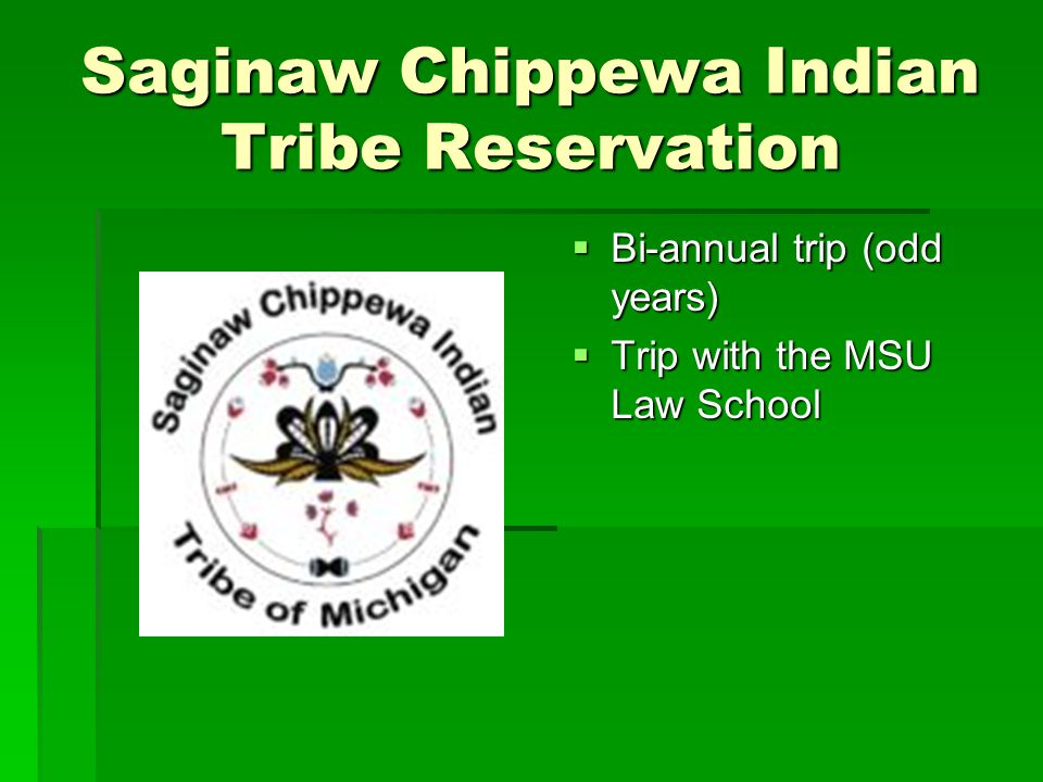 Saginaw Chippewa Indian Tribe Reservation  Bi-annual trip (odd years)  Trip with the MSU Law School