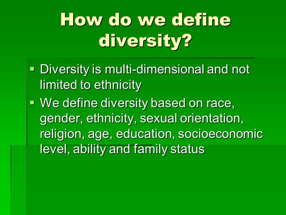 How do we define diversity.