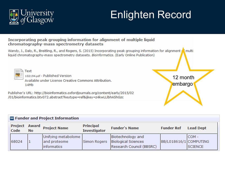 Enlighten Record 36 month embargo 12 month embargo