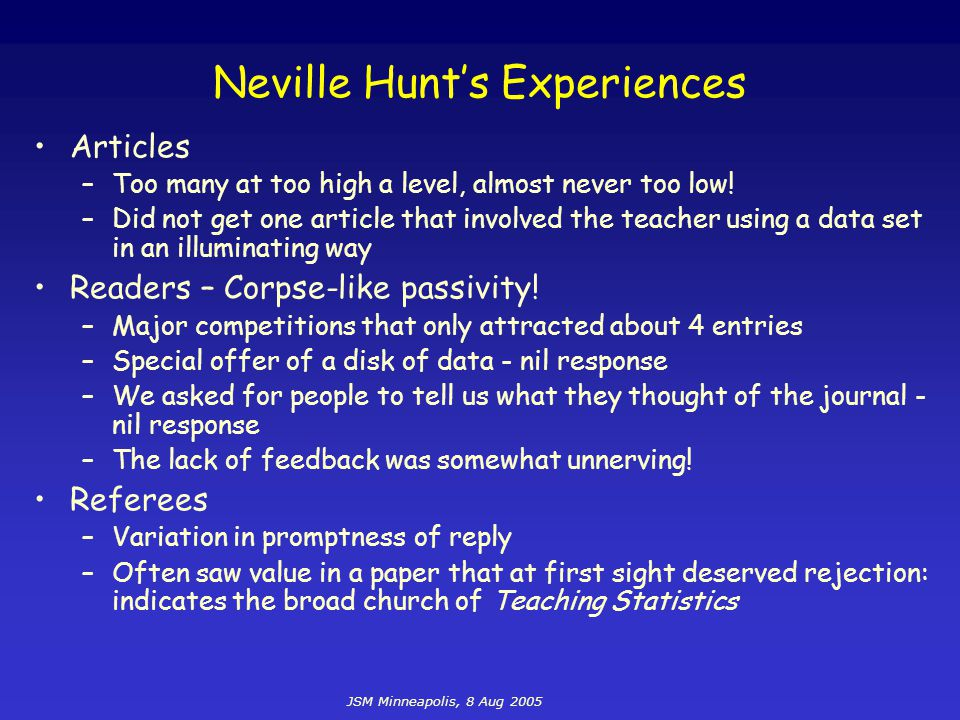 JSM Minneapolis, 8 Aug 2005 Neville Hunt's Experiences Articles –Too many at too high a level, almost never too low! –Did not get one article that inv